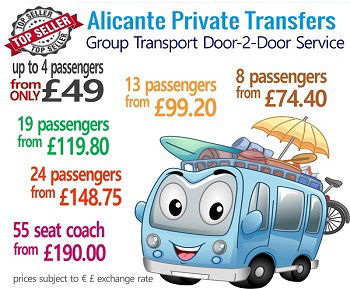 Alicante Private Transfers from £99 return. Taxis and groups transfers.