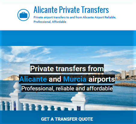 Private Alicante Airport Transfers from £49/60€