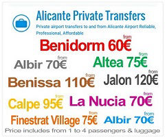 Alicante & Murcia Private Transfers to Benidorm
