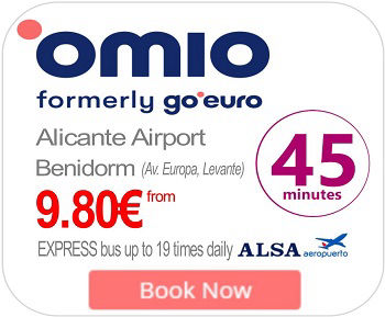 Alicante Airport Express ALSA Bus to Benidorm from 08:00 until 23:00 daily from 9.80€
