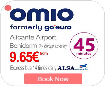 Alicante to Benidorm express BUS 13 times daily. Jounrey time 45 minutes.